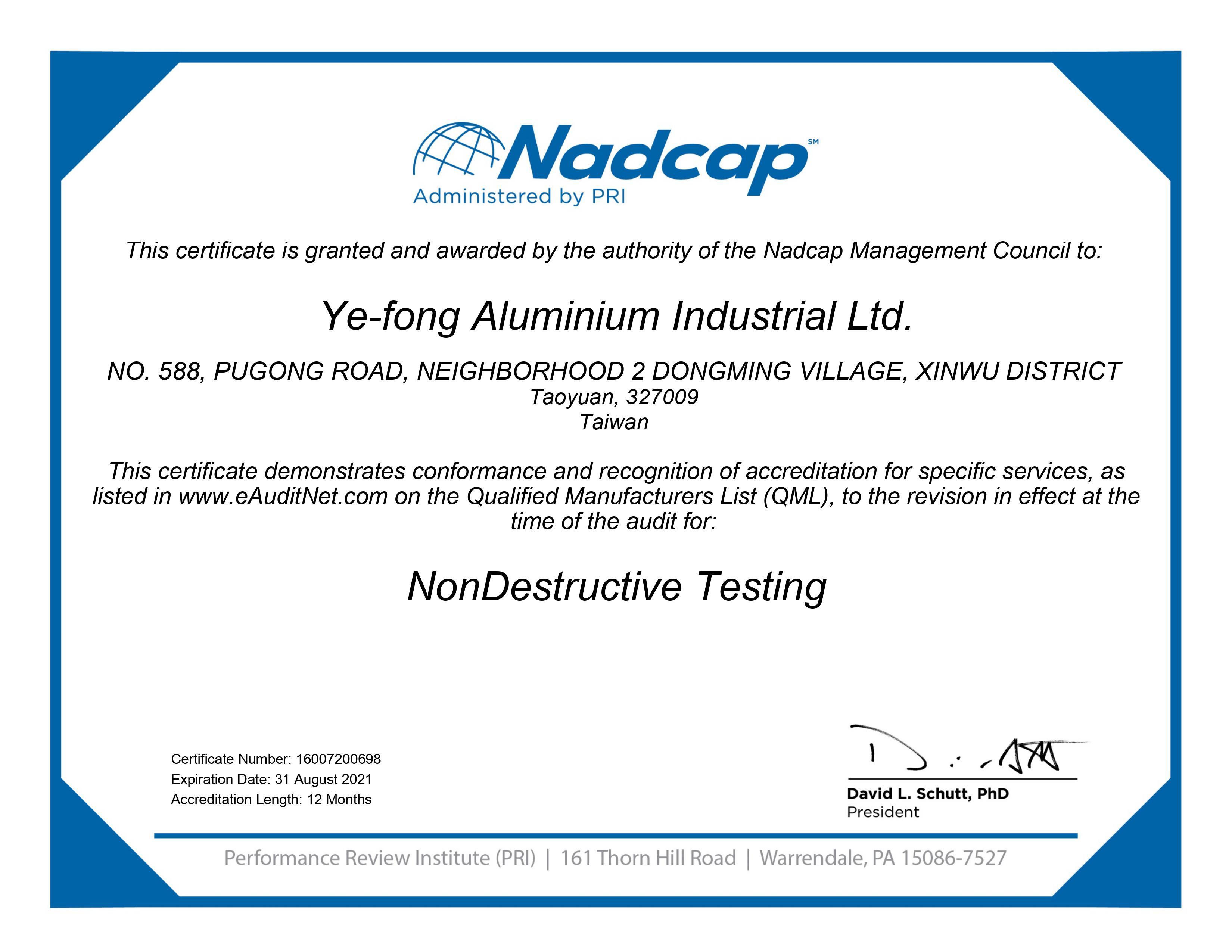 NADCAP-NDT certificates